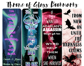 Throne of Glass inspired Bookmarks Printable set of 4
