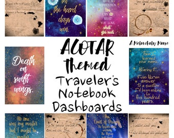 A5 Size- A Court of Thorns & Roses Series- Traveler's Notebook Dashboards, Art prints Set of 10 Printables