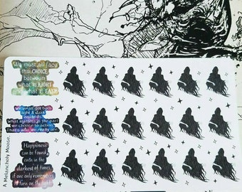 Hand Drawn Harry Potter Inspired Dementors & Quotes Stickers for All Planners