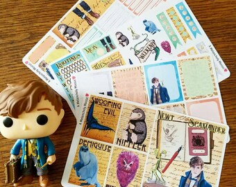 Newt's Suitcase ~ Hand Drawn Magical Creatures inspired Weekly Sticker Kit & Boxes for Planners