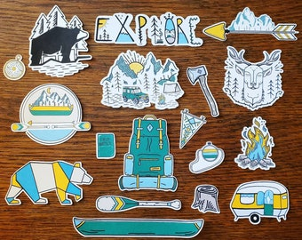 The Great Outdoors~ Hand drawn, outdoors adventure inspired die cuts