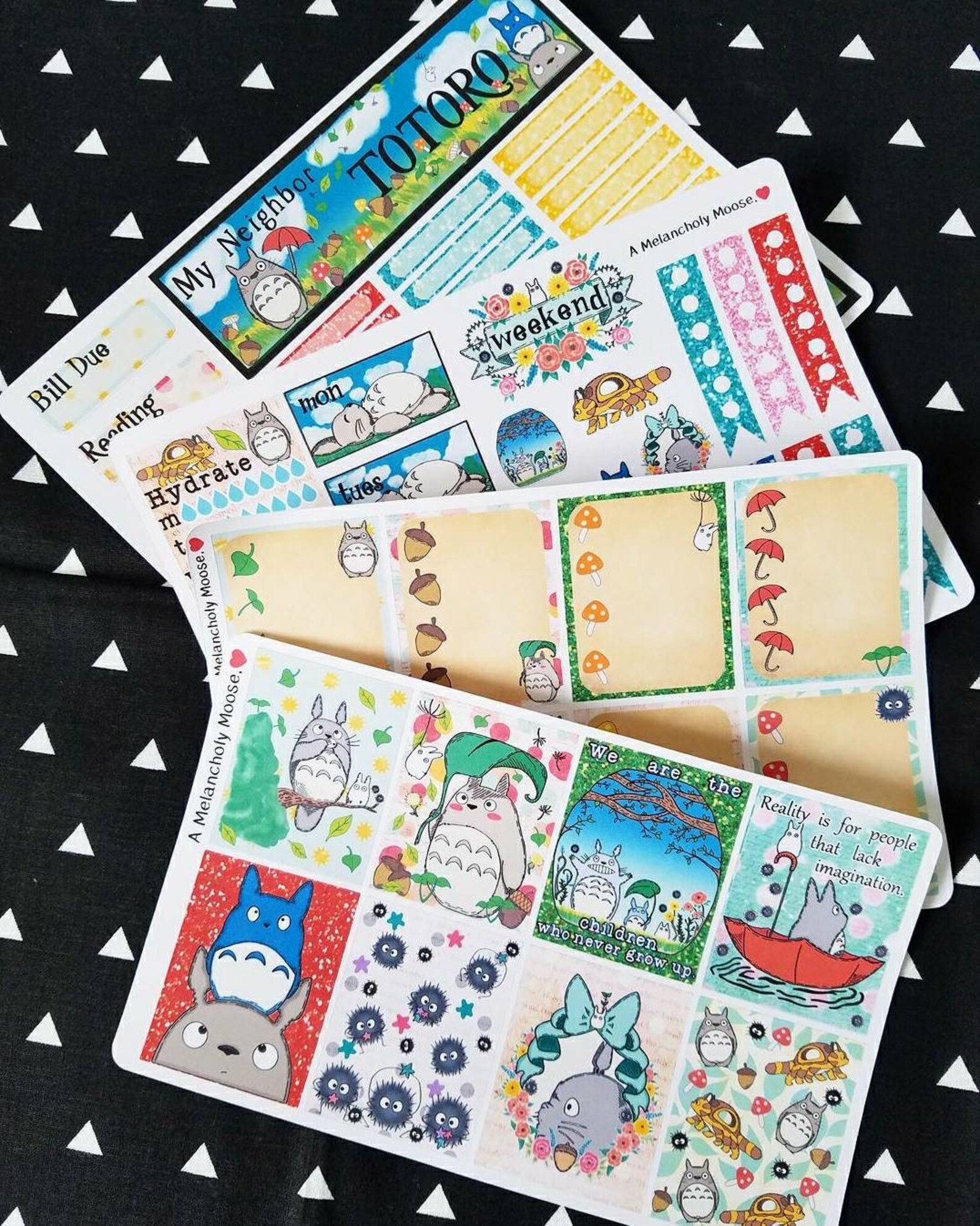 Totoro~ Inspired Hand Drawn Weekly Planner Sticker Kit for Erin Condren Vertical Planners