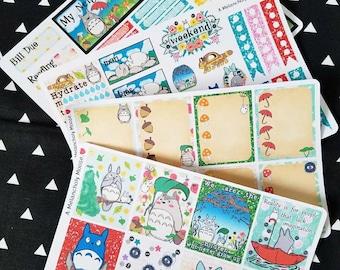 Totoro~ Inspired Hand Drawn Weekly Planner Sticker Kit for Erin Condren Vertical Planners
