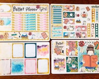 Potter Planner Girl~ Hand Dawn Planner Sticker Kit & Boxes