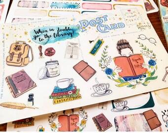 Potter Planner Girl~ Deco Postcard Set, Hand Drawn Planner Stickers