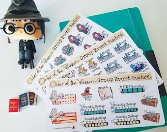 The Order of the Planners Group Event Tracking Set~ Hand Drawn Planning Stickers for HPOOTP Facebook Group!