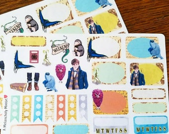 Newt's Suitcase ~ Mini Kit ~ Hand Drawn Magical Creature Themed Stickers for Planners