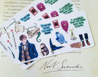 Newt's Suitcase Themed Sampler ~ Hand Drawn Magical Creatures Inspired Stickers for Planners