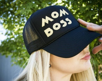 MOM BOSS - MESH Hat Handmade Trucker Hat