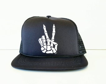 PEACE OUT - MESH Hat Handmade Trucker Hat Snapback Baseball Cap