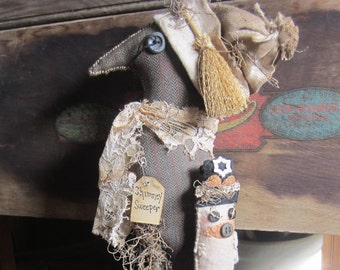 CROW PiG FoLK ArT DOLL~ Crock Poke~ Fireplace Decor~ Pig Doll~ Crow Collector~ Crock Holder~ Mary Poppins~ Vintage~ Primitive Decor~