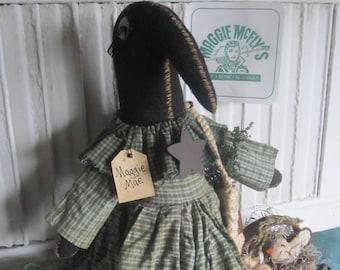 CROW PRIMITIVE ArT DoLL  ~ Black Crow~Crow Doll~ Farm To Table~ Green~ Primitive Crow~ Vegetarian~ Chick n Eggs~ Tomato~ Vintage~ Farmhouse