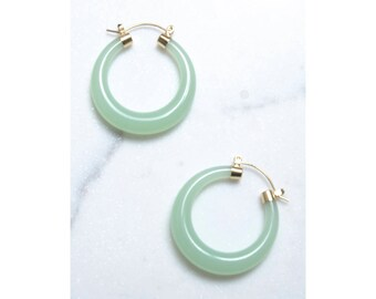 Jade Lucite Hoop Earrings with 14k Gold / Lucite Earrings / Jade Earrings / Statement Jewelry