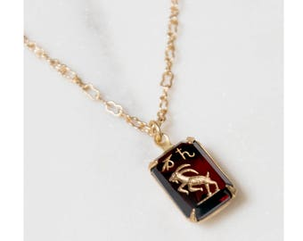 Capricorn Necklace / antique necklace / zodiac jewelry / astrology jewelry / 1940s necklace