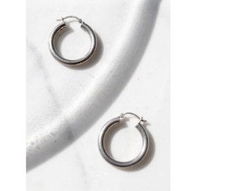 925 Silver Hoop Earrings / 1 Inch Hoop Earrings / Minimalist Jewelry