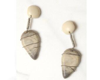 Modernist Earrings / 1970s Drop Earrings /  Statement Jewelry / 4 Inch