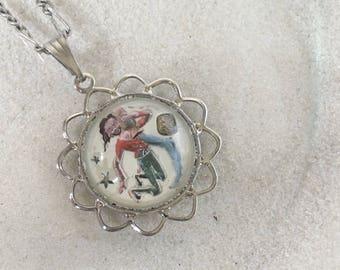 aquarius necklace, horoscope necklace, zodiac jewelry, horoscope jewelry, aquarius jewelry, zodiac necklace, birthday gift, vintage necklace