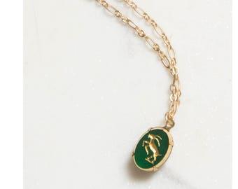 Capricorn Necklace /  Zodiac Necklace / Astrology Sign / Capricorn Jewelry / Vintage Capricorn / Art Deco