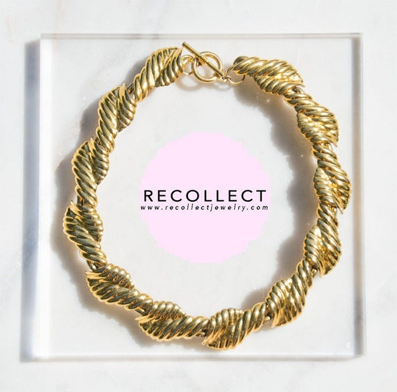 Gold Collar Necklace Vintage Jewelry Chunky Neckla