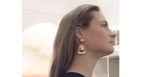 Oversized Earrings / 1980s Earrings / Statement Jewelry by Etsy
