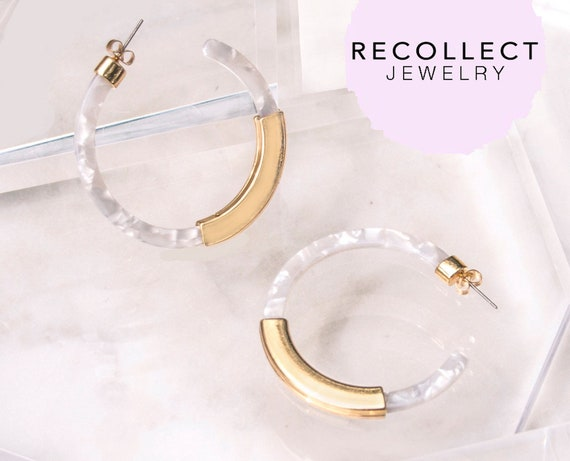 Lucite Hoop Earrings In Caged Gold, Selentite, Rose Quartz, Transparent Earrings, Resin Hoops by Etsy