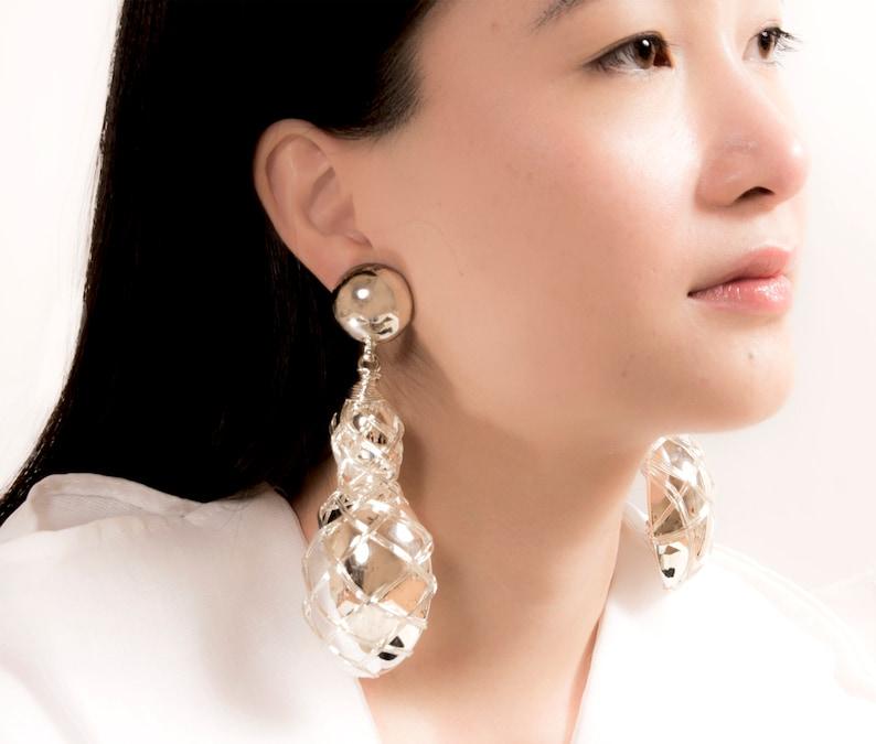 Vintage Oversized Silver Statement Earrings Sephiret Earrings