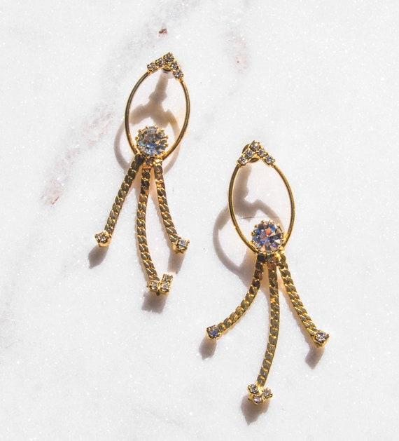 Gold Statement Earrings Vintage Earrings 80s Earri