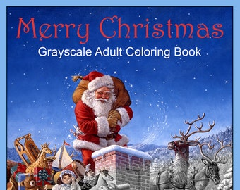 merry christmas grayscale adult coloring book 36 image instant download