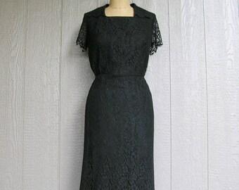 Vintage 60s Black Lace Dress MIDNIGHT LACE