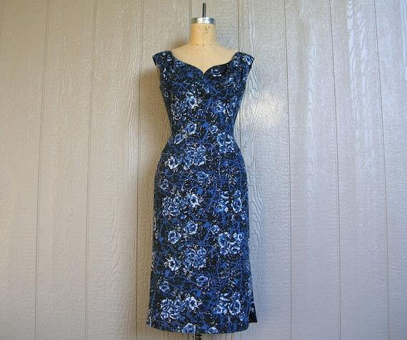 Vintage 50s MIAMI BLUE FLORALS Dress by Alix of Mi