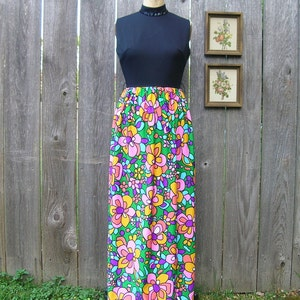 Vintage 60s EVENING SHINING BLOOMS Metallic Embroidered  Dress