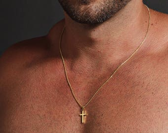 Gold pendant men etsy cross necklace for men mens gold cross necklace mens jewelry gold cross pendant necklace for men gold chain necklace stainless aloadofball Image collections