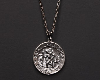 St. Christopher Medaille Halskette für Männer - Sterlingsilber St. Christopher Pendant - oxidiertem Sterlingsilber Kette Halskette für Männer