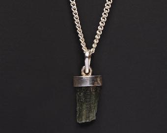 Moldavit Halskette für Männer - Moldavit Silber Anhänger Halskette - Moldavit Schmuck - Herren Sterling silber Kette Halskette - Herren Edelsteine
