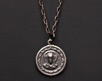 Jesus Medal - Sterling Silber Jesus Anhänger - minimalistischen Männer Schmuck, einfache Halskette Sterling silber Herren - Silber Kette