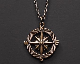 Kompass Halskette für Männer - Bronze Anhänger Halskette für Männer - Sterling Silber Kabel Kette Halskette - Geschenk für Absolvent - Geschenk für ihn - Papa