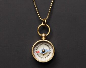 Mini Kompass Halskette - kleine gold-Kompass-Anhänger - funktionale Spielzeug Kompass - gold Kette - arbeiten Kompass Schmuck - Herren Halskette