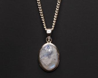 Mondsteinhalskette für Männer - Mondstein-Anhänger für Männer - Mondstein Silber Halskette für Männer - Herrenschmuck - Herren Halskette - Halskette für Männer