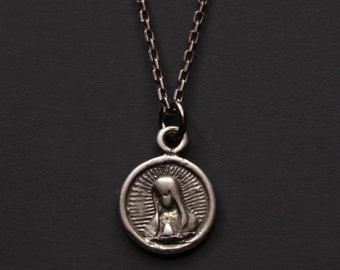 Guadalupe Halskette für Männer - Virgen Guadalupe Anhänger - St. Diego Anhänger - mexikanische religiösen Medaille - Sterling Silber Halskette für Männer