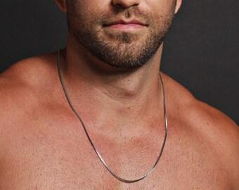 Box style chain necklace for men - Men's stainless steel necklace - Men's Jewelry - Silver necklace for men - stainless steel.