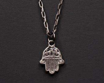 Silber Halskette - kleine Sterling silber Hamsa Halskette für Männer - Auge Schutzamulett - hand all Seeing Eye - Silber-Kette für Männer