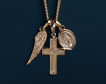 Wing, gold cross, miraculous medal necklace for Men - Protection necklace / Gold chain necklace for man / him jewelry / gifts for Men