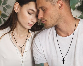 Black Cross Necklace for Men or Women / Unisex jewelry / Black Stainless Steel round box chain with black cross pendant for him or her