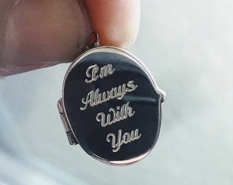 Men's Necklace / Locket for Men / Sterling Silver Chain / Custom Personalized engraved silver locket with your own photos printed included.