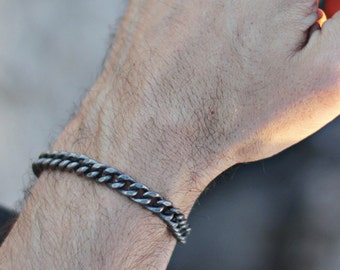 Silver Bracelet For Men - Antique silver plated thick curb chain bracelet for guys - Adjustable one size fits all