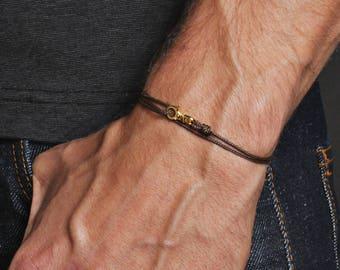 Men's Bracelet - Minimalist brown bracelet for men - thin brown cord and gold bracelet for men - Bracelets for Men - Men's Jewelry - For him