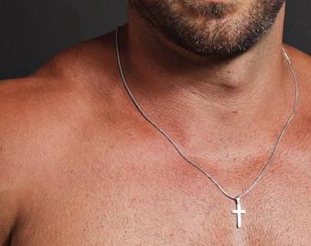 Cross Necklace for men - Men's stainless steel cross necklace - Men's Jewelry - Silver cross pendant necklace for men - stainless steel.
