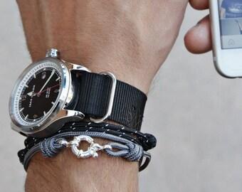Bracelet for Men - Cord Bracelet for Men - Men's Naval Bracelet - Sterling Silver Men's Bracelet - Gray cord bracelet for men - Adjustable