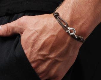 Bracelet for Men - Cord Bracelet for Men - Men's Naval Bracelet - Sterling Silver Men's Bracelet - Brown cord bracelet for men - Adjustable