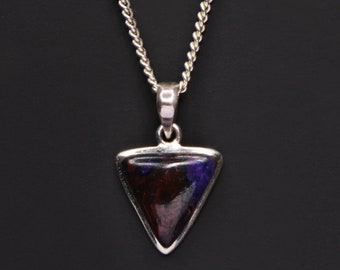 Sugilith Halskette für Männer - Sugilith Anhänger - Sugilith Dreieck Halskette - Herren Dreieck Anhänger Halskette - Sterling silber Kette Halskette
